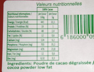 Cacao Intense - Información nutricional