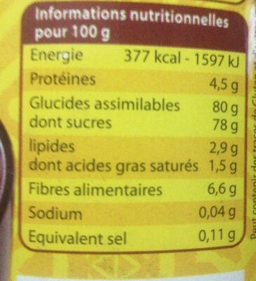 chocofun - Informations nutritionnelles