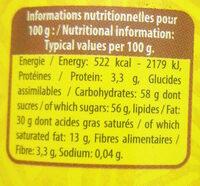 choco fun - Nutrition facts