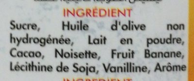 Crème à tartiner aux noisettes et au fruit banane - Ingrédients - fr
