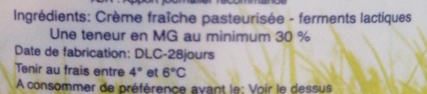 Crème fraîche - Ingredients - fr
