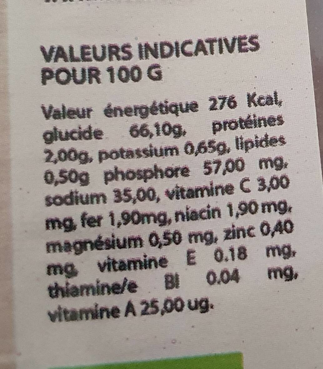 Dattes bio - Nutrition facts - fr
