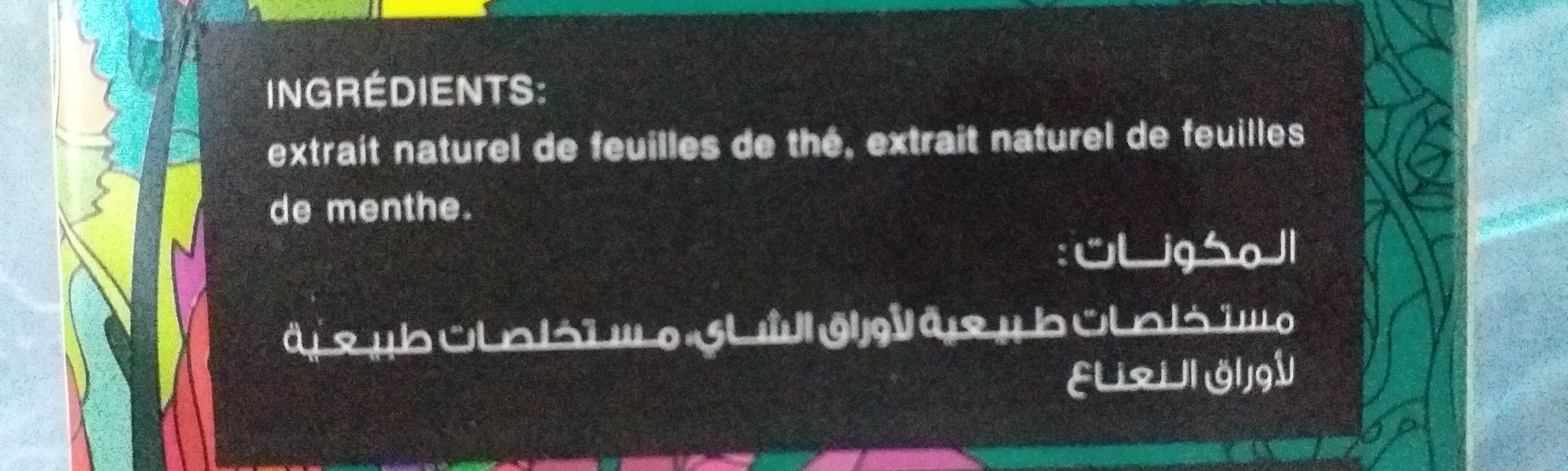KYUFI thé vert soluble à la menthe - المكونات - fr