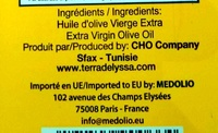 Tunisian extra virgin olive oil - Ingredients