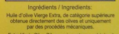 Huile d'olive de Tunisie vierge extra - Ingrédients - fr
