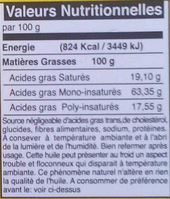 Huile d'olive de Tunisie vierge extra - Informations nutritionnelles - fr