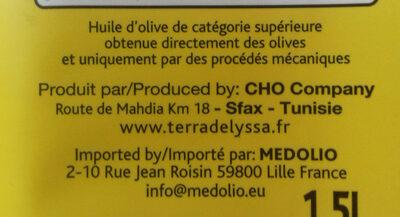 Huile d'olive de Tunisie vierge extra - Ingredients - fr