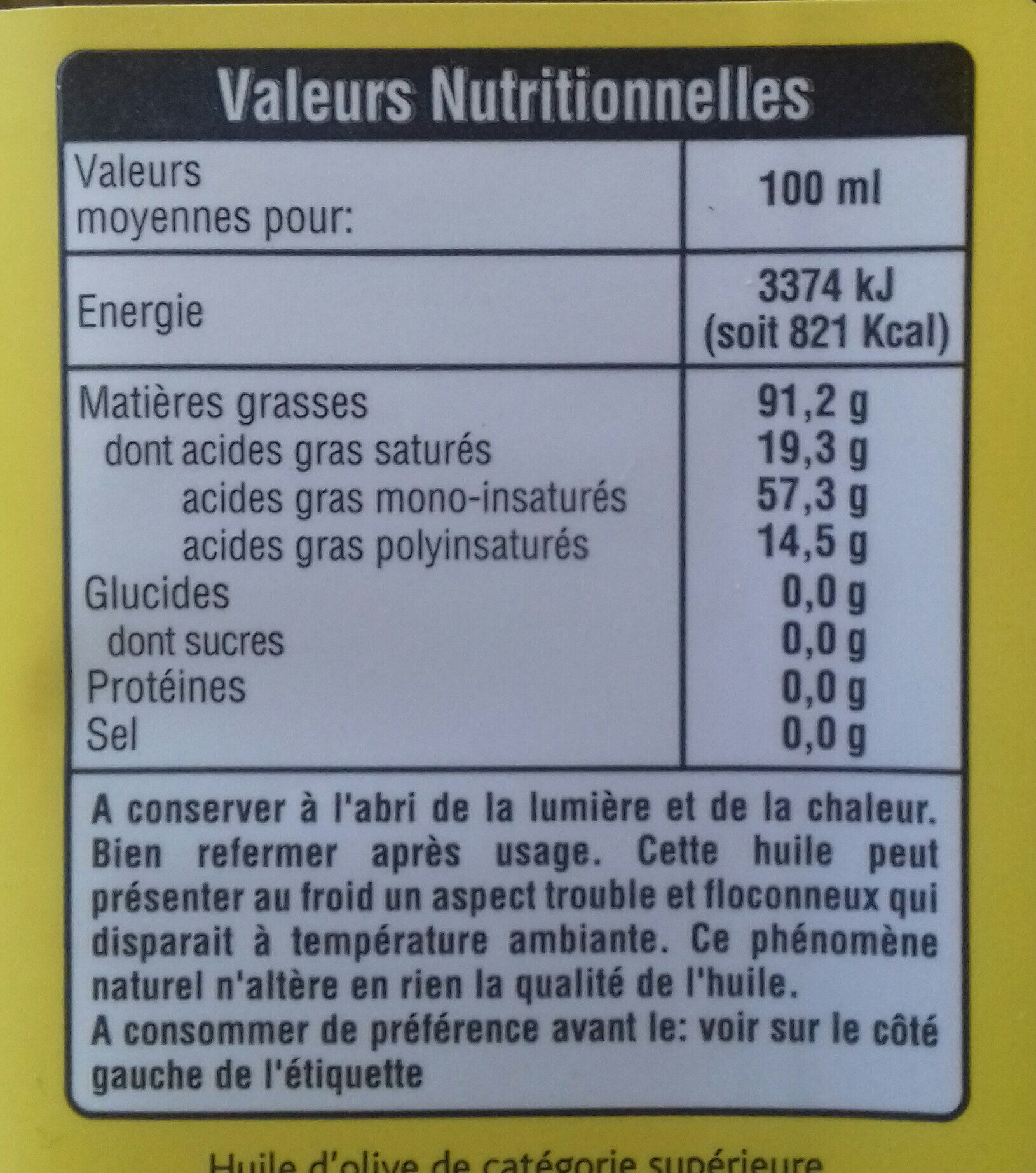 Huile d'olive de Tunisie vierge extra - Nutrition facts - fr