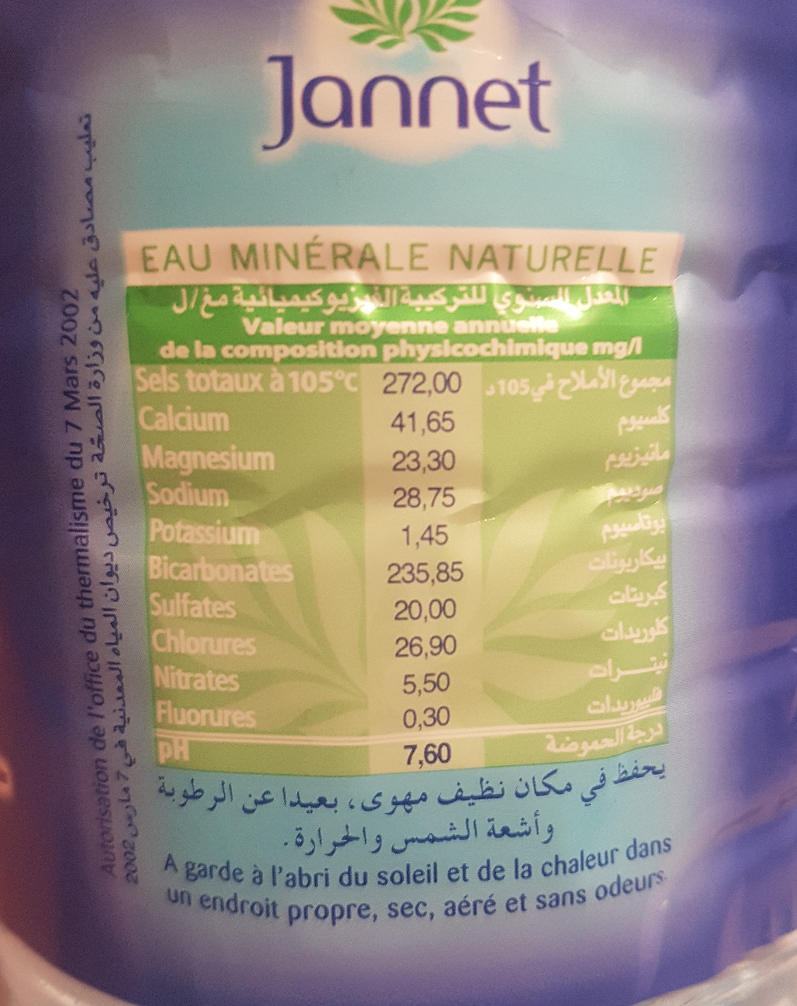 eau minérale naturelle - حقائق غذائية - fr