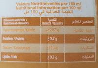Boisson au jus PÊCHE - Informations nutritionnelles - fr