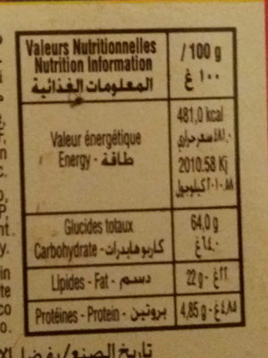 Volcano - Nutrition facts - fr