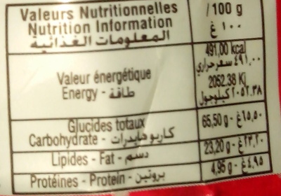 X-plose - Nutrition facts