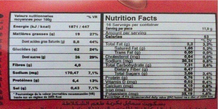 Biscuits Smile Kif Chocolat (190G) - Voedingswaarden - fr