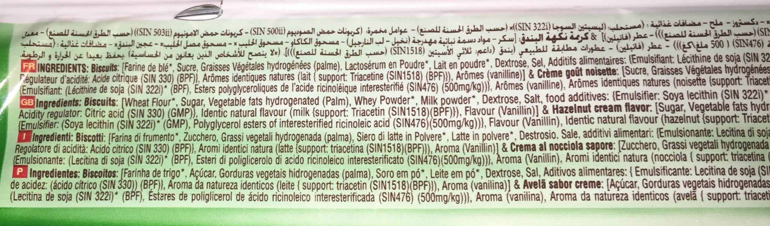 Biscuits Tigato Noisettes Kif (125G) - Ingredients