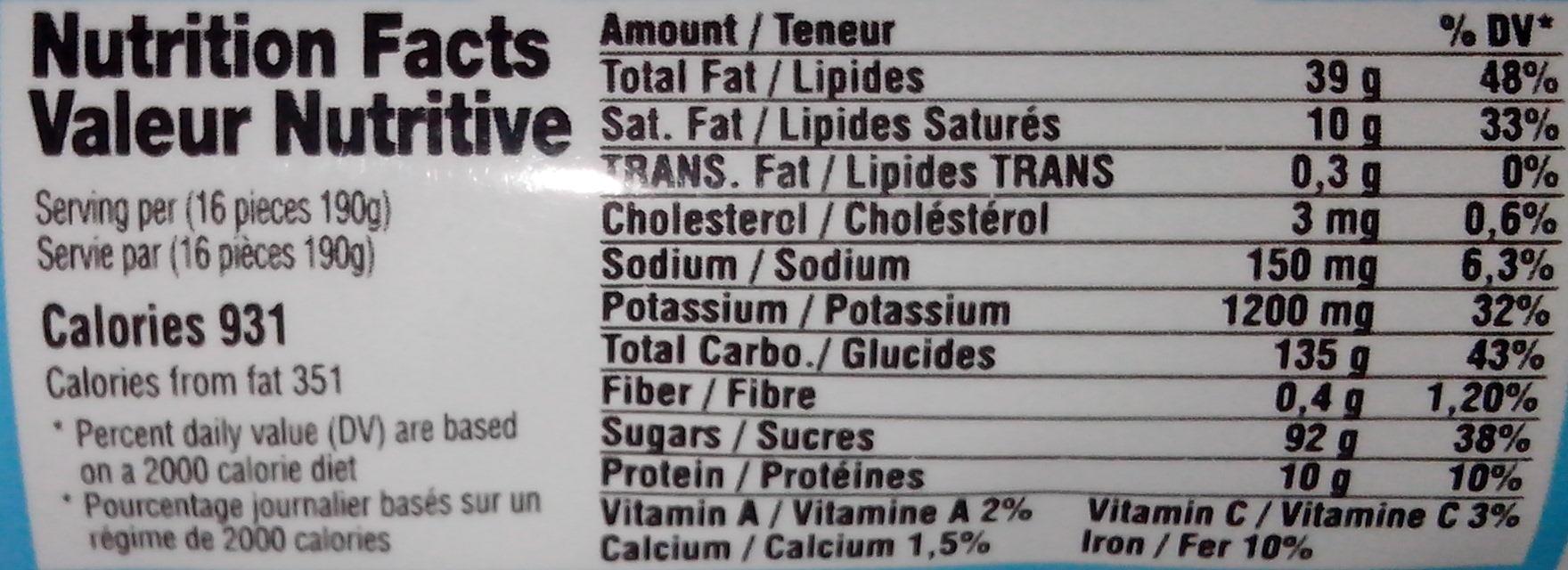 Smile - au Lait - Nutrition facts