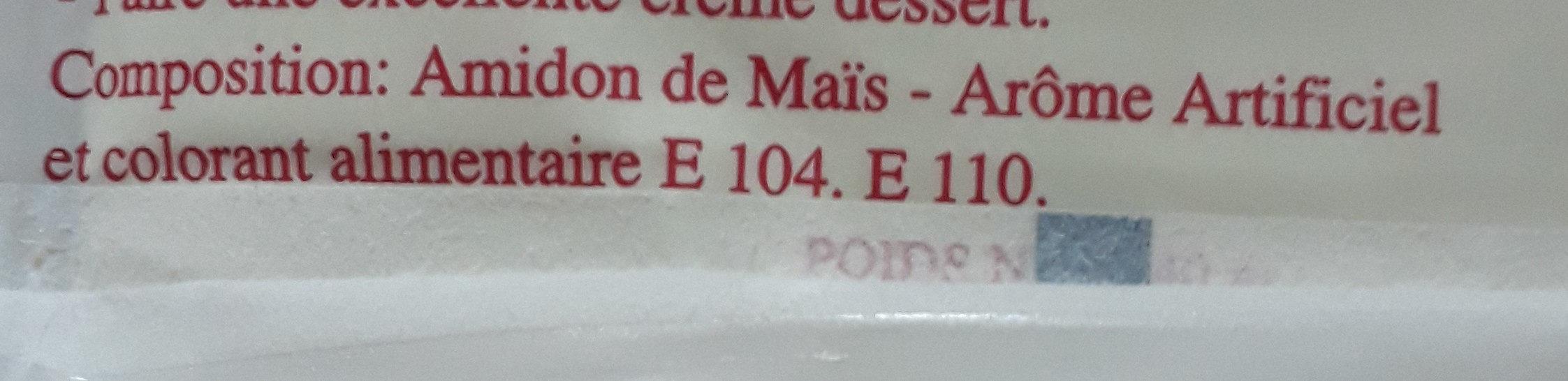 Poudre à crème patissière gout vanilliné - Ingrédients - fr