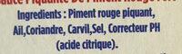 Harissa du Cap Bon - Ingrédients - fr