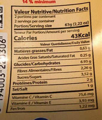 Harissa du Cap Bon - Informations nutritionnelles - fr