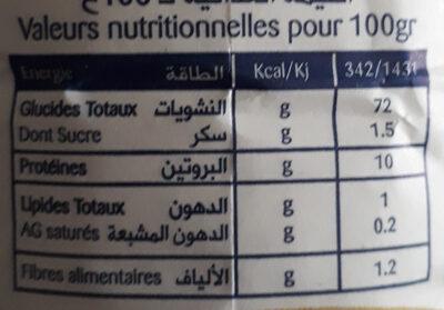 Farine Pâtissière L'epi D'or - حقائق غذائية - fr