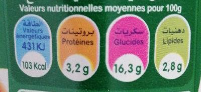 Activia aux morceaux de pêche - Nutrition facts - fr