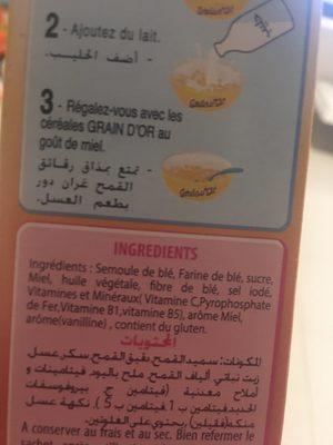 Céréales Grain D'or Miel Nestlé - Ingredients - fr