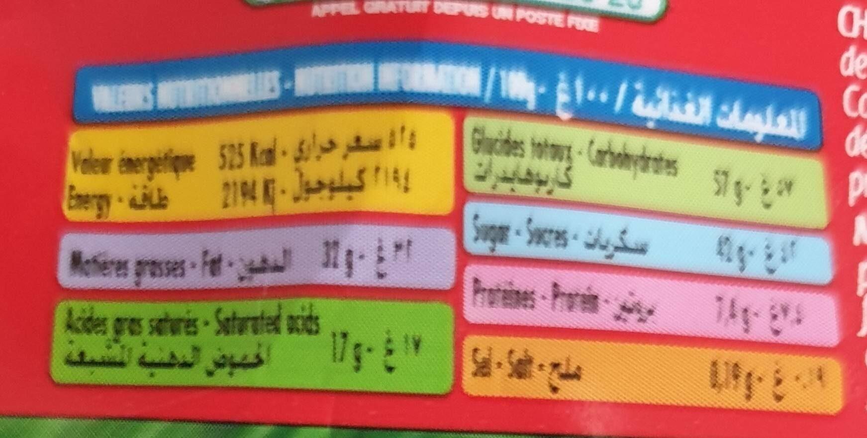 Tris - Informations nutritionnelles - en