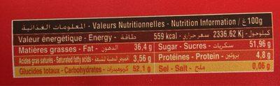 Crème à tartiner Noisette - Informations nutritionnelles