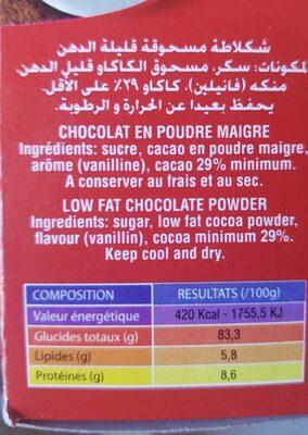 Chocolat en poudre - Informations nutritionnelles - fr