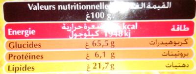 Start - Galettes goût chocolat - Nutrition facts - fr