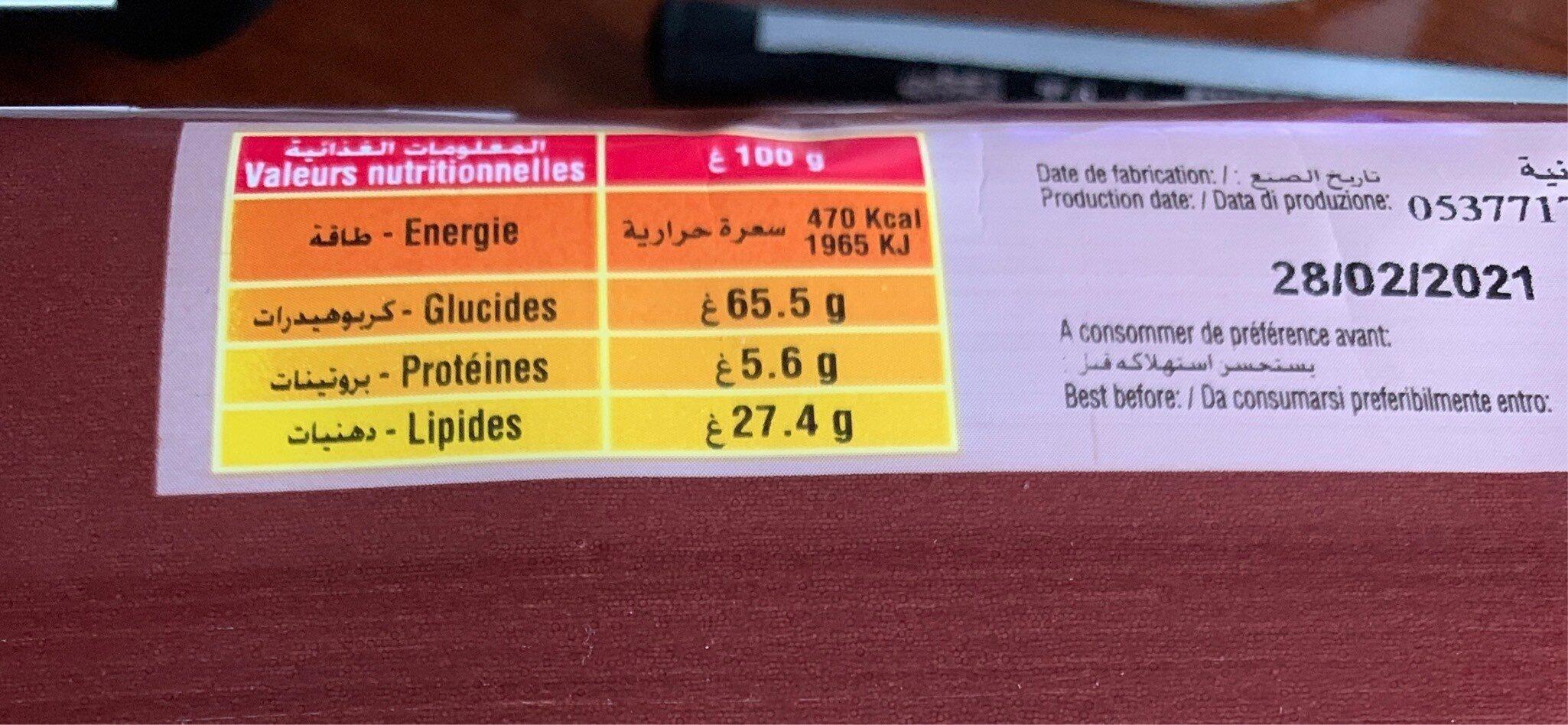Biscuits Tartelettes Au Chocolat Saida (120G) - Nutrition facts - fr