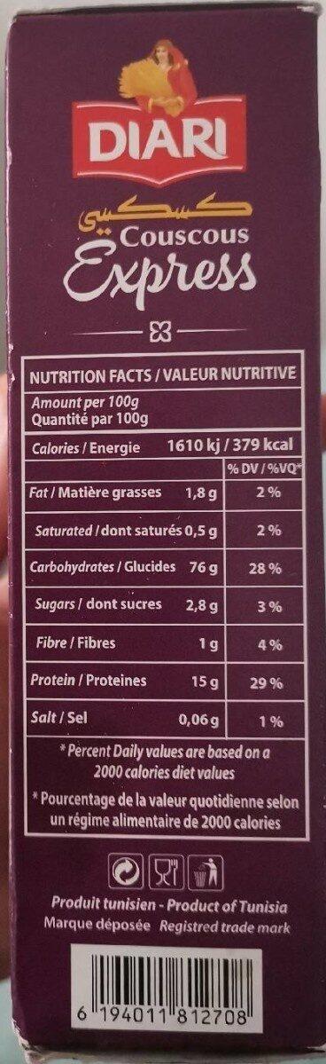 Couscous Diari - Informations nutritionnelles - fr