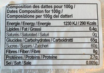 Dattes Khouet Alig de Tunisie Cat.1 - Valori nutrizionali - fr