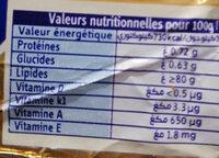 Beurre extra fin - حقائق غذائية - fr