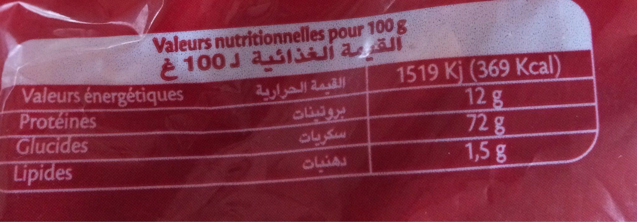 Pâtes Fell 2 Warda (500G) - Informations nutritionnelles - fr