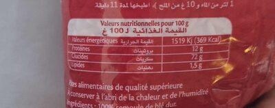 Langue d'oiseau - Informations nutritionnelles - fr