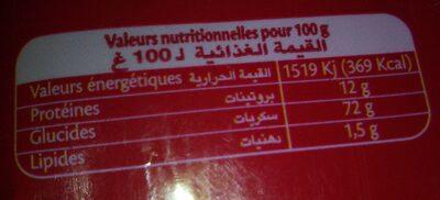 Warda spaghetti - Informations nutritionnelles - fr