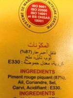 Harissa du Cap-Bon de Tunisie - Inhaltsstoffe - fr