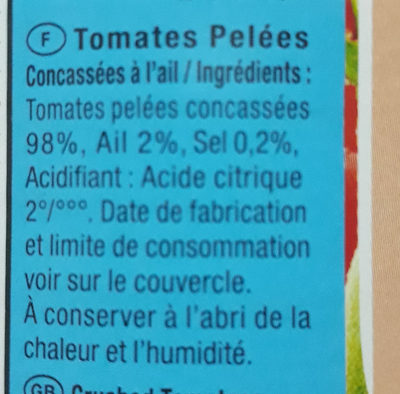 Tomate Pelée à L'ail Sicam - Ingredients