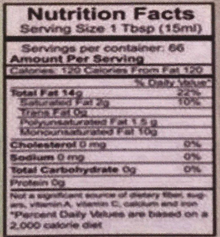 Extra Virgin Olive Oil - Nutrition facts