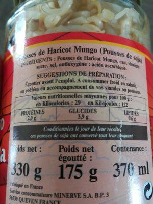 Pousse de haricots mungo (pousse de soja) - Ingrédients - fr