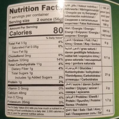 Feuilles de vigne farcies - Informations nutritionnelles - fr