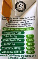 Orange nectar - Ingrédients
