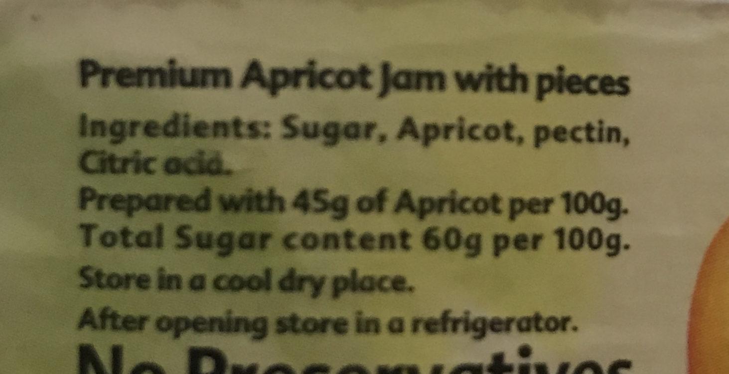 Vitrac Apricot - Ingrédients - en