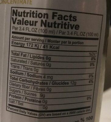 Premium orange juice - Informations nutritionnelles