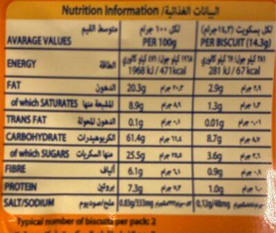 Golden Oat - Informations nutritionnelles - fr