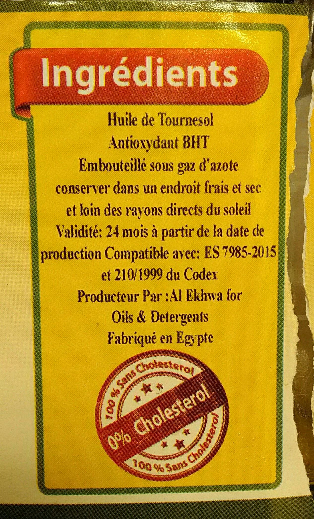 huile de tournesol - Ingrediënten - fr