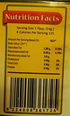 huile de tournesol - Informations nutritionnelles