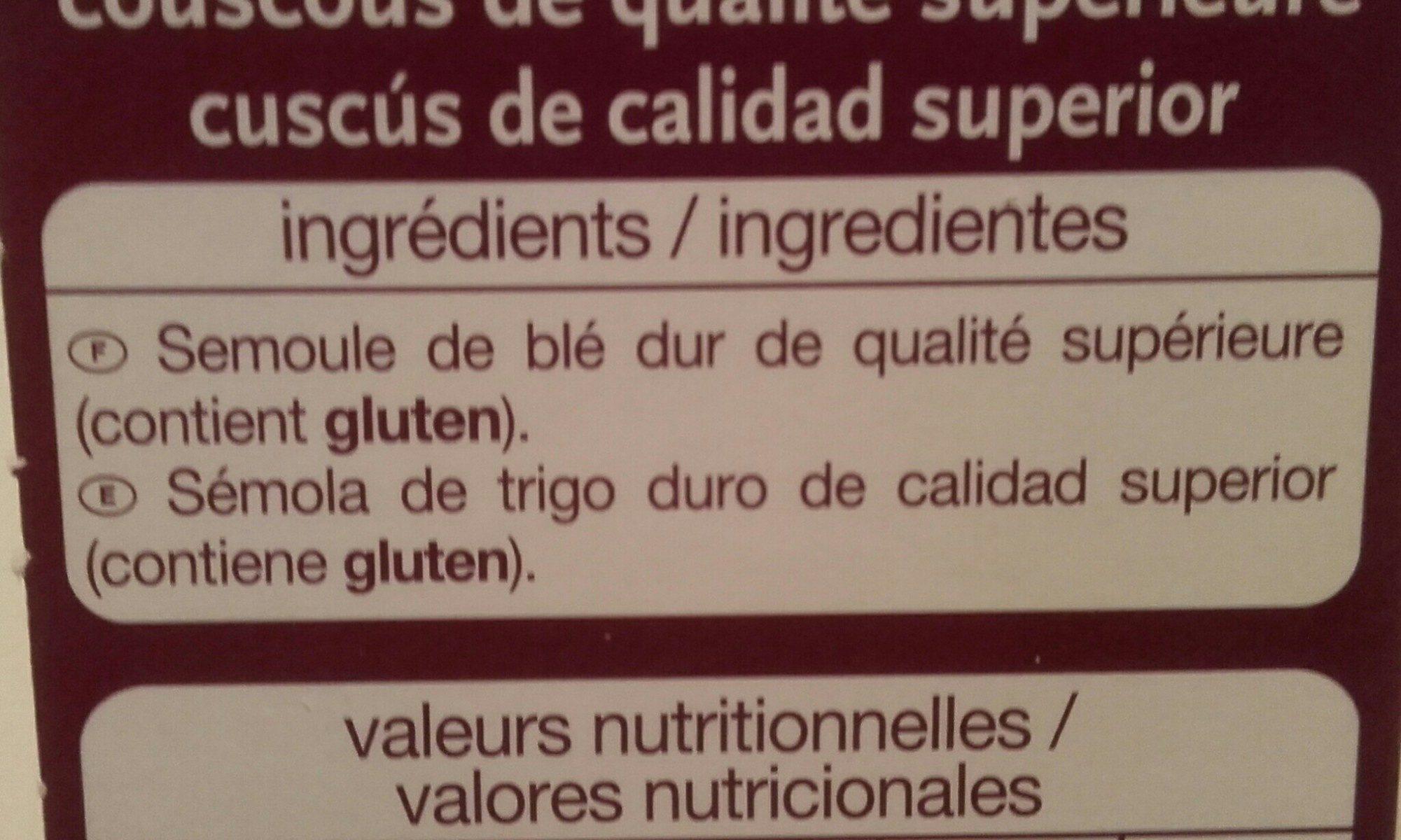 Couscous grain moyen - Ingrediënten