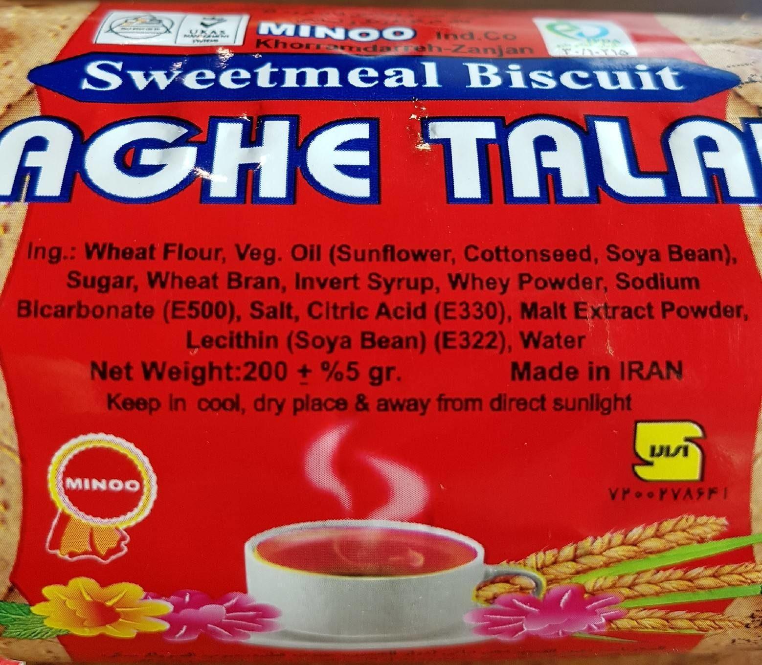 Wholegrain Biscuits Saghe Talaee Mino 200 G - Valori nutrizionali - en