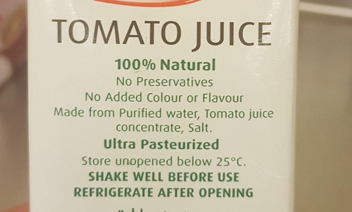 Tomato Juice - Ingredients - en